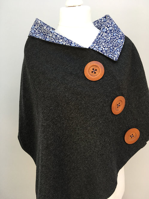 Charcoal Merino Lambswool with True Blue Floral