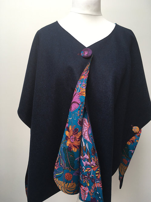 Dark Blue Merino Lambswool with Fantasy Tana Lawn