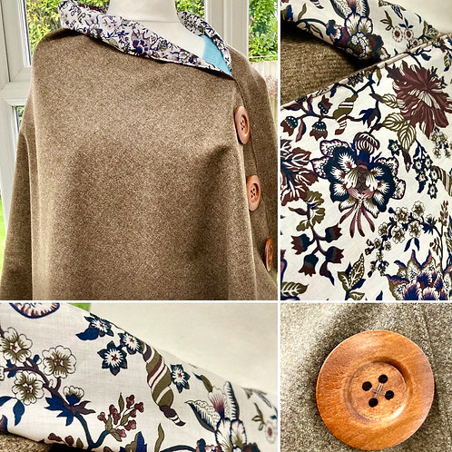 Taupe Merino Lambswool with Liberty Christelle Tana Lawn