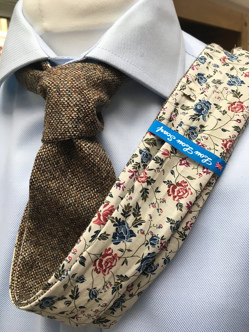 Light Brown Shetland Twill with Liberty Blue/Red Rose Tana Lawn