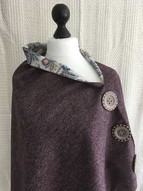 Purple Shetland with Liberty Assorted Colours Tana Lawn Flower