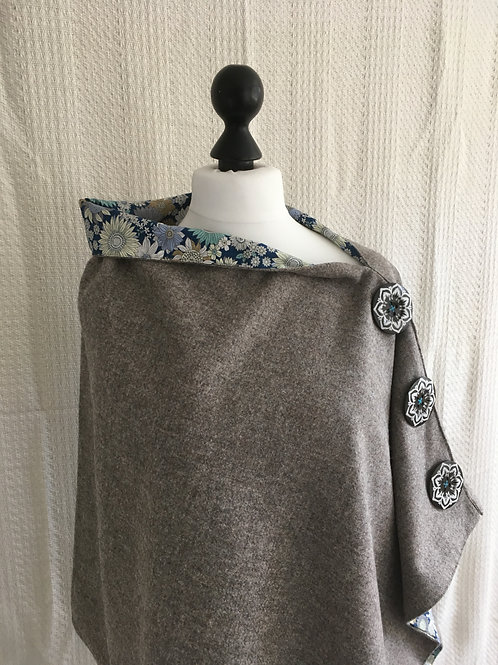 Light Grey Shetland with Liberty Blue/ White Tana Lawn Flowers