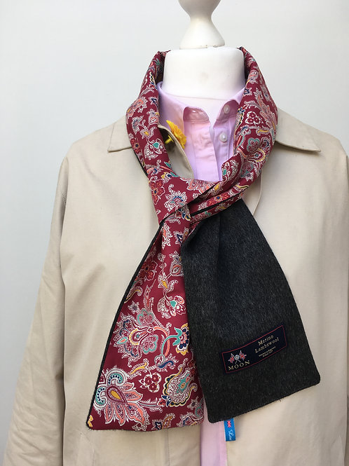 Charcoal Merino Lambswool with Red Louis Paisley