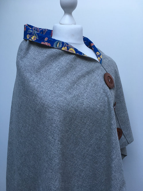 Silver Grey Merino Lambswool with Blue Octavia Tana Lawn