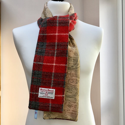 Harris Tweed Red Check and Gold Paisley