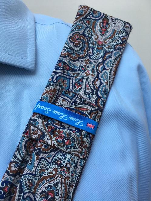Light Grape Shetland Plain Weave Twill with Liberty Blue/Brown Paisley