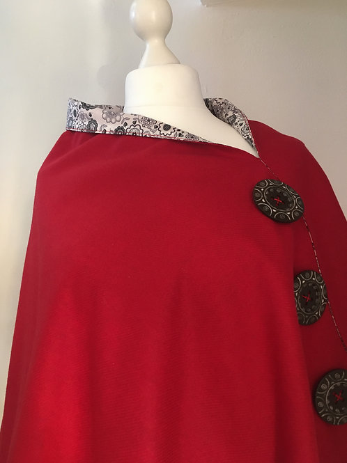 Red Merino Lambswool with Liberty Tana Lawn Grey Flower