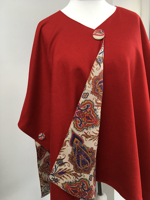 Red Merino Lambswool with Lord Paisley Tana Lawn