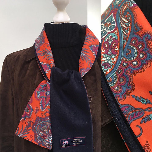 Navy Blue Merino Lambswool with Red Lady Paisley Tana Lawn