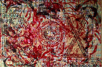 Collaboration with Lee Jaffe of Bob Marley and the Wailers, 7'x5' Mixed media on canvas