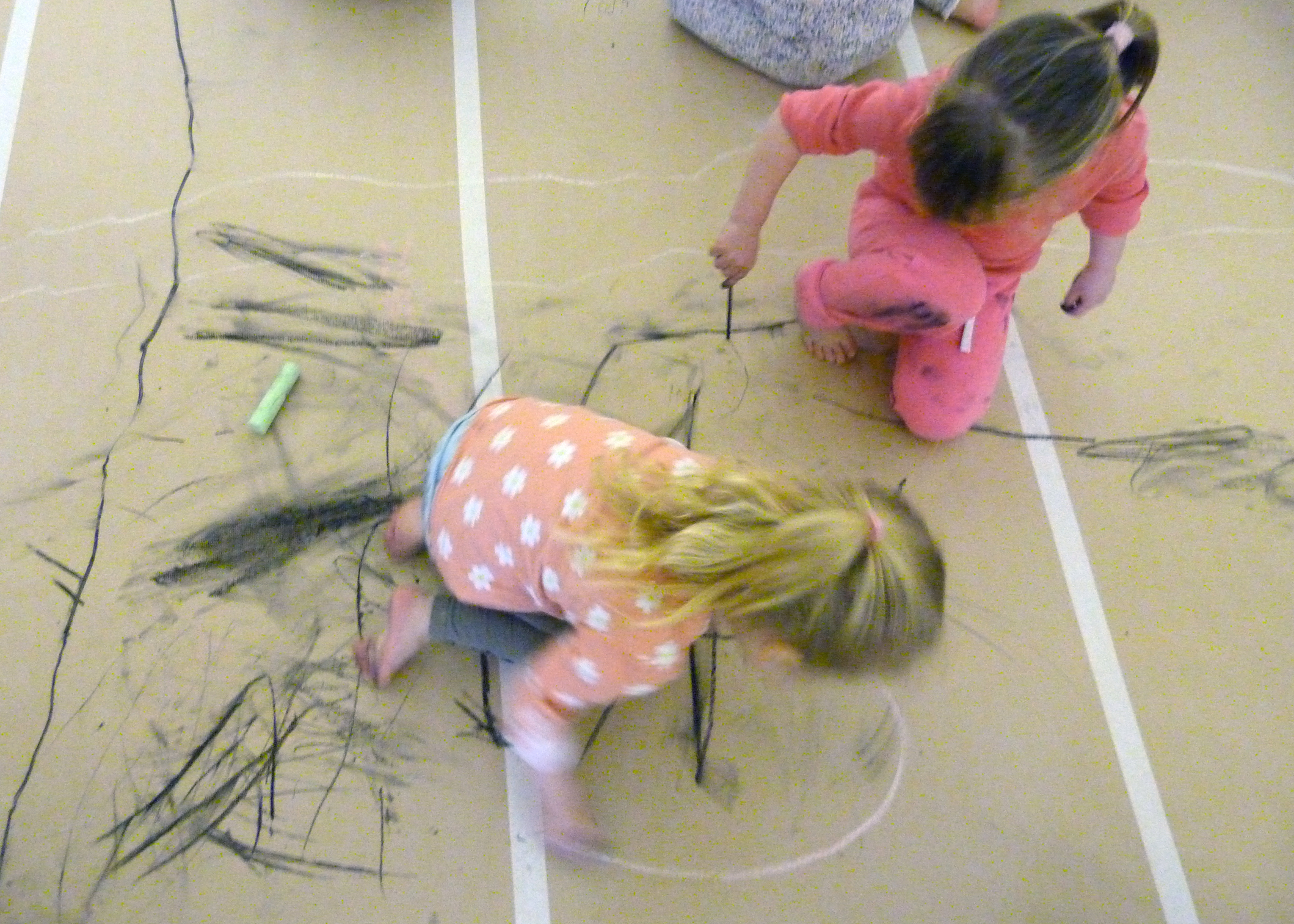 Mark making with charcoal.