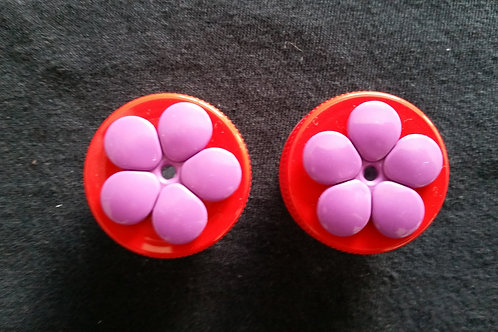 (2) Pack - Red w/ Purple Flower Nectar DOTS