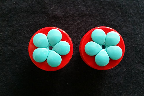 (2) Pack - Red w/ Teal Flower Nectar DOTS