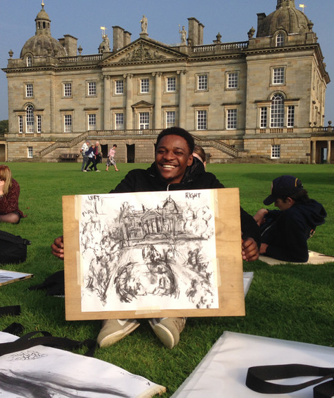 An ambulatory drawing made on the lawn at Houghton Hall by a Norwich City College student