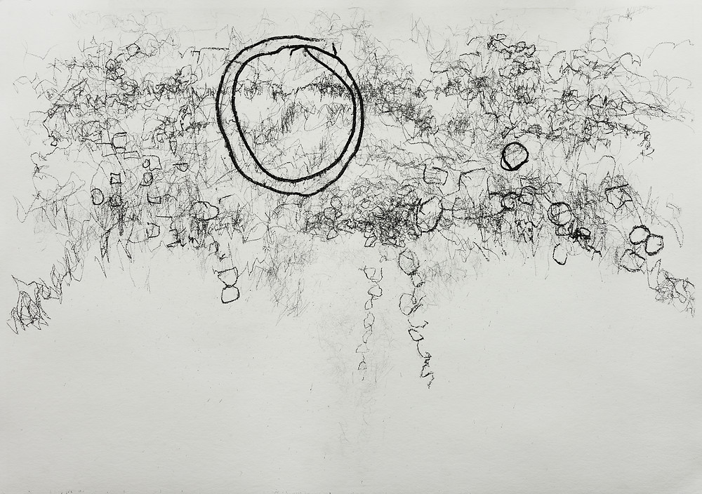 Someone asked 'how do you know when a drawing is finished?' In this instance, 'when it starts raining'.