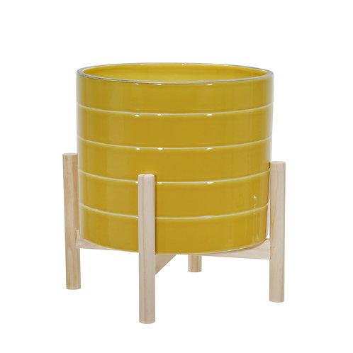 "12"" Yellow Stripe Planter"