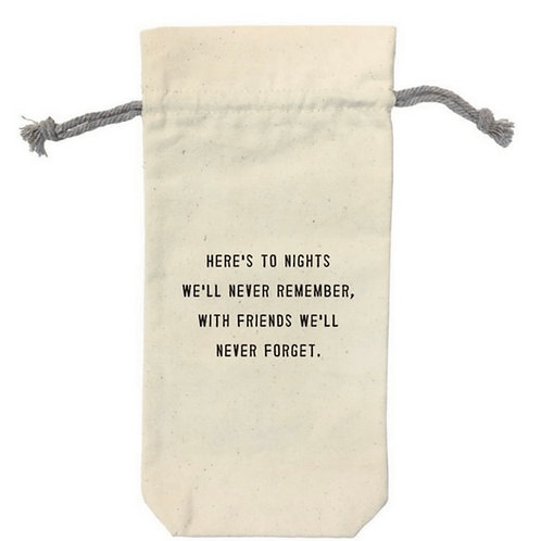 Here's to the Nights Canvas Wine Bag