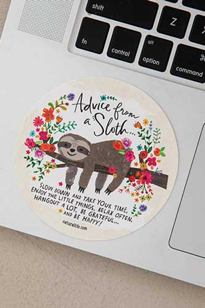 Advice from a Sloth Vinyl Sticker