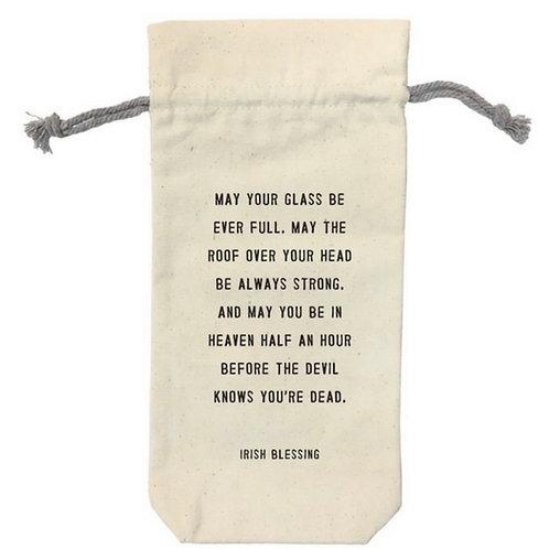 Irish Blessing Canvas Wine Bag