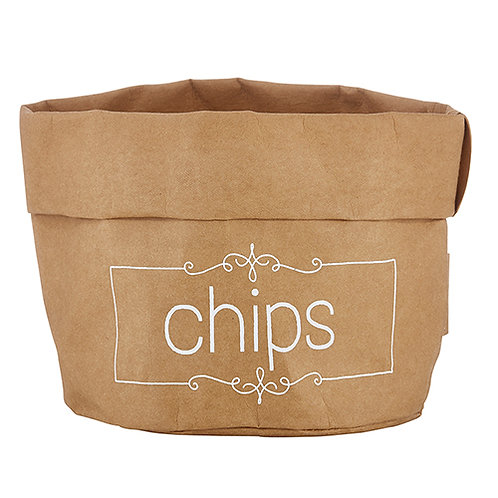 Chips Washable Paper Bag - white text