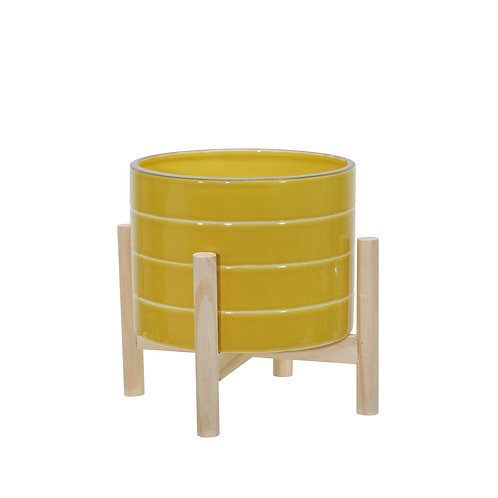 "8"" Yellow Stripe Planter"