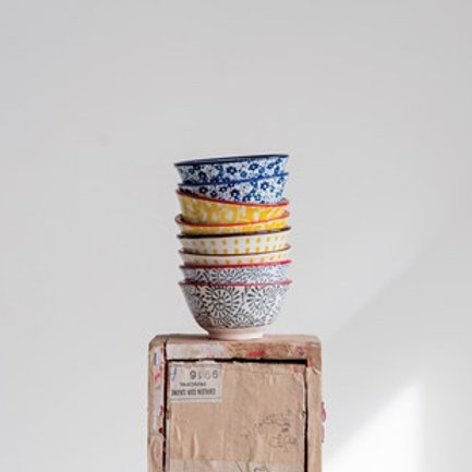 Hand Painted Pinch Pot, set of 4