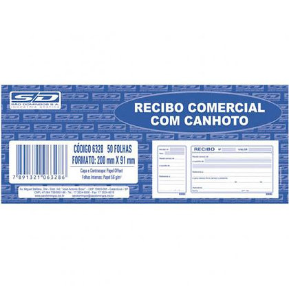 Recibo Comercial com Canhoto 200x91mm São Domingos