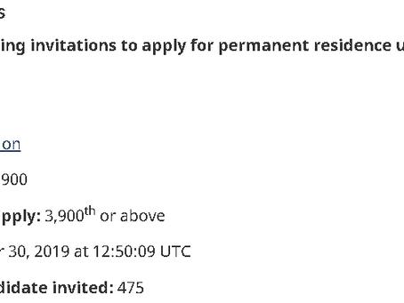 2019年10月30日Express Entry最新邀请