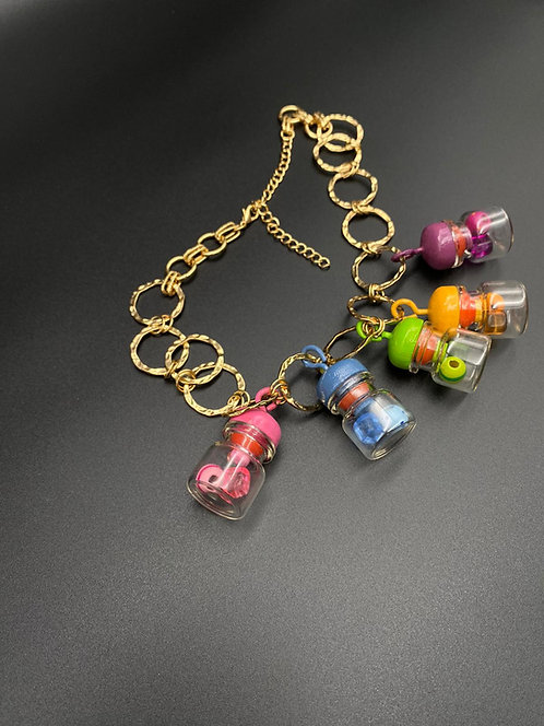 Colorful bottles necklace