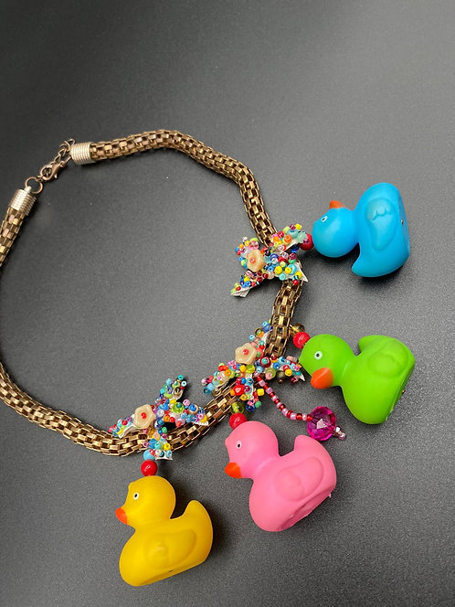 Duck necklace combined with colored beads