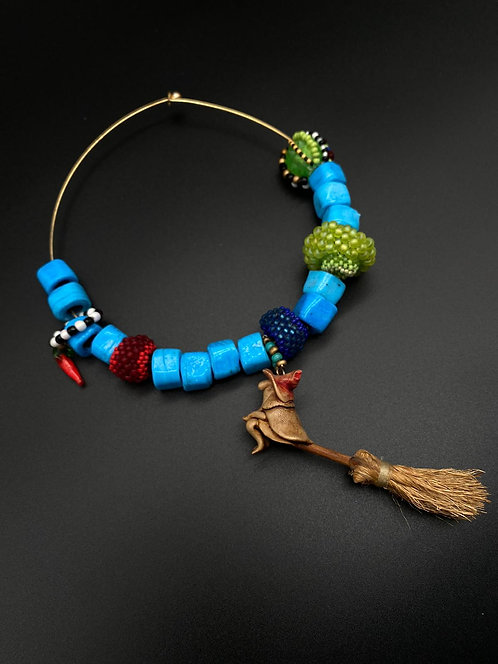 witch necklace with turquoise beads