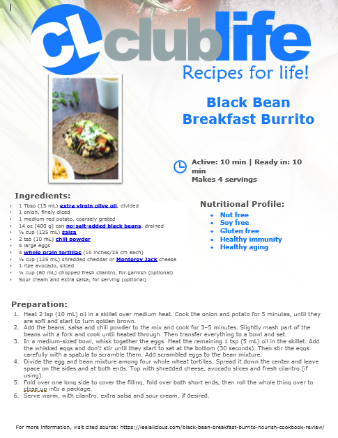 A Spicy ClubLife Health & Fitness Breakfast Burrito Recipe!