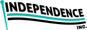 A black and turquoise flag. The flag includes three stripes and a turquoise flagpole. The top stripe reads Independence, Inc. in black. The second stripe is turquoise. The third stripe is black and below the third stripe, the text, Inc. is located on the bottom right hand corner.