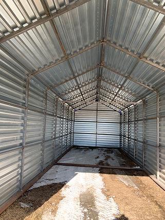 Interior of a portable garage