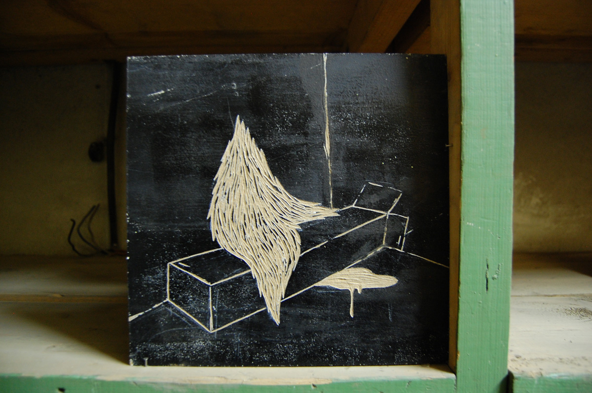 Drawing on wooden board