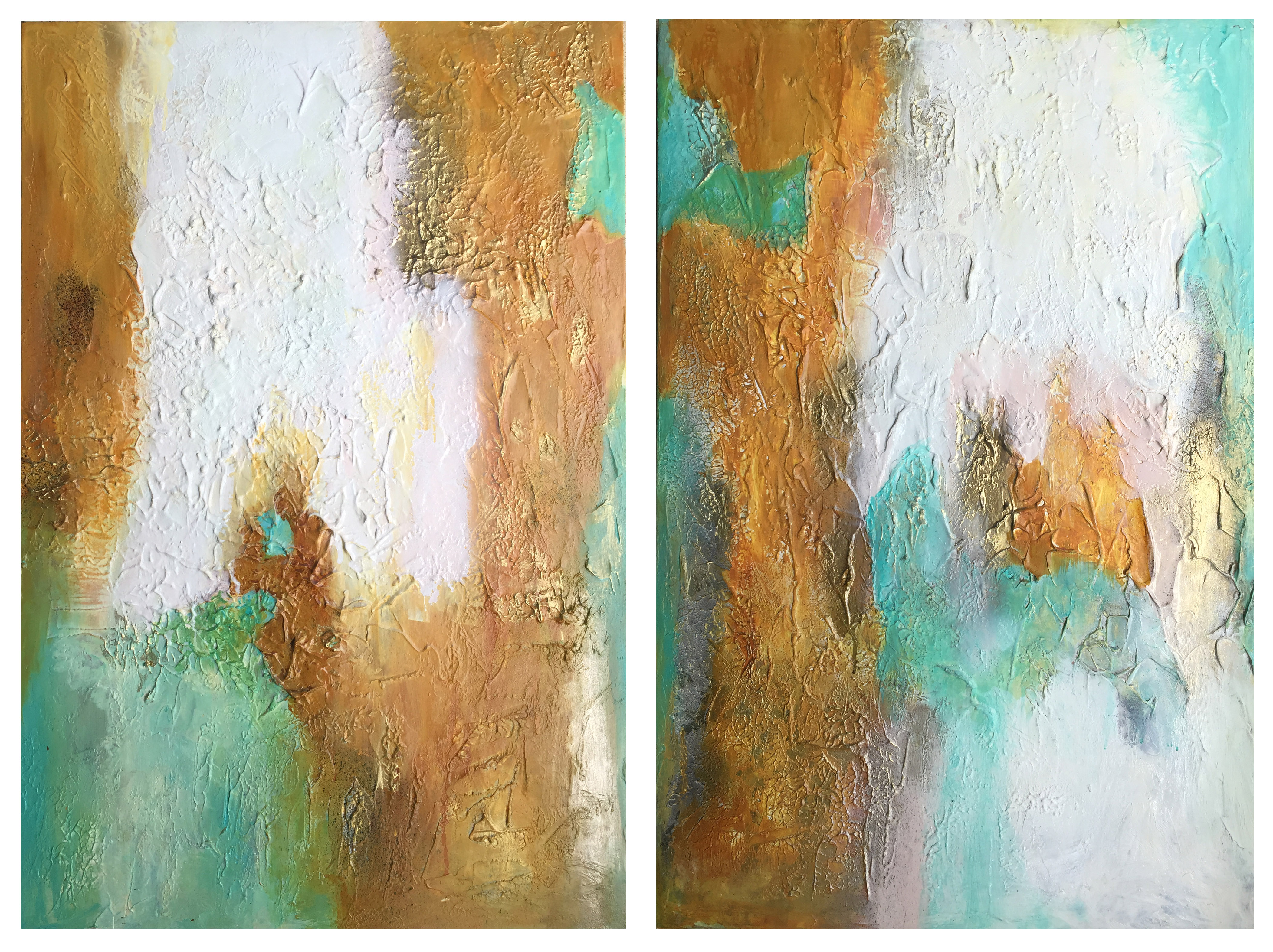 Poetry in Gold 37-- 36 x 48 - 2 panels .