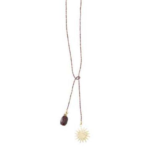 Nova Granat Sonne Gold Halskette