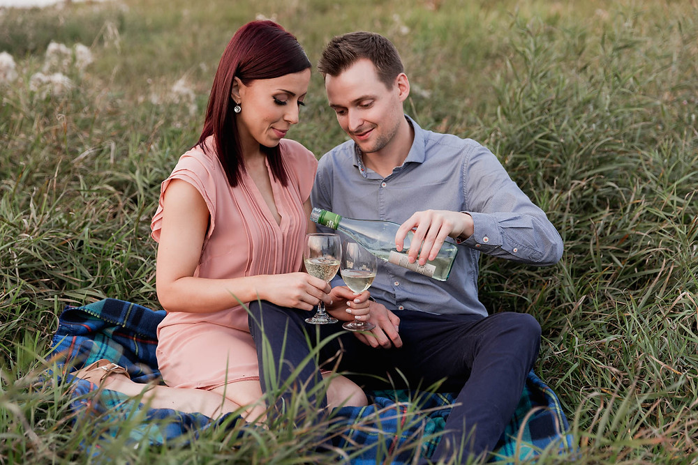 engagement photos with wine