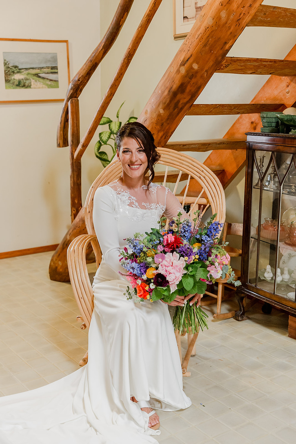 Bride in Chair, Bride in Wicker Chair, Bride, Bride with flowers