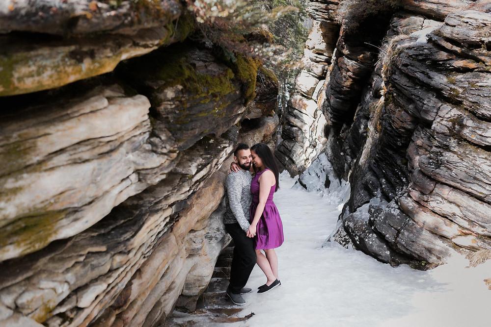 Couple At Athabasca Fall