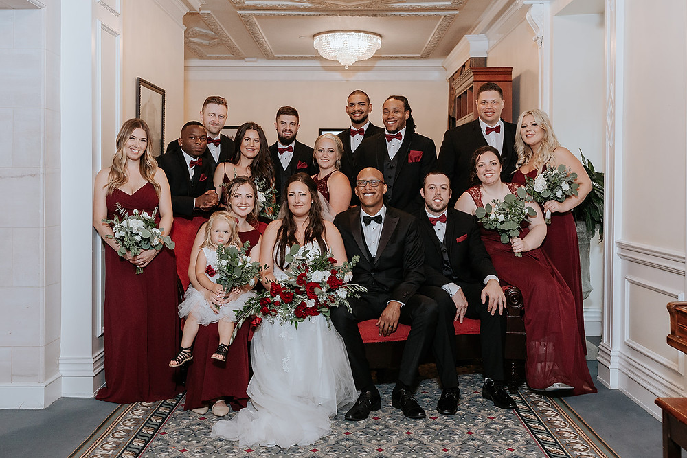 indoor wedding party photos