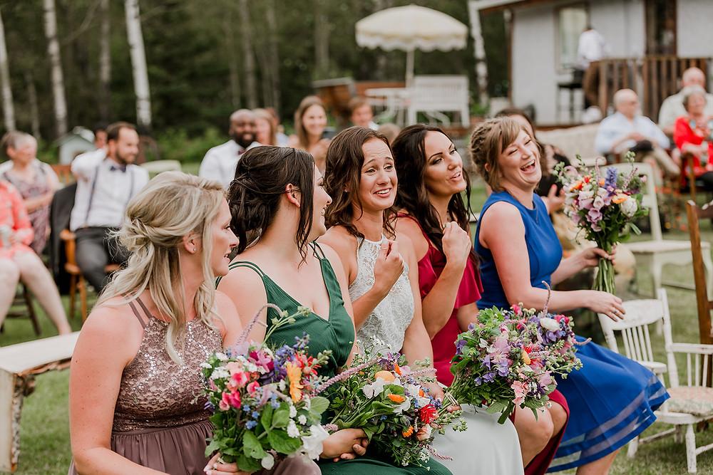 Bridesmaids, happy bridesmaids, giggly bridesmaids