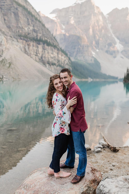 a couple at moraine lake