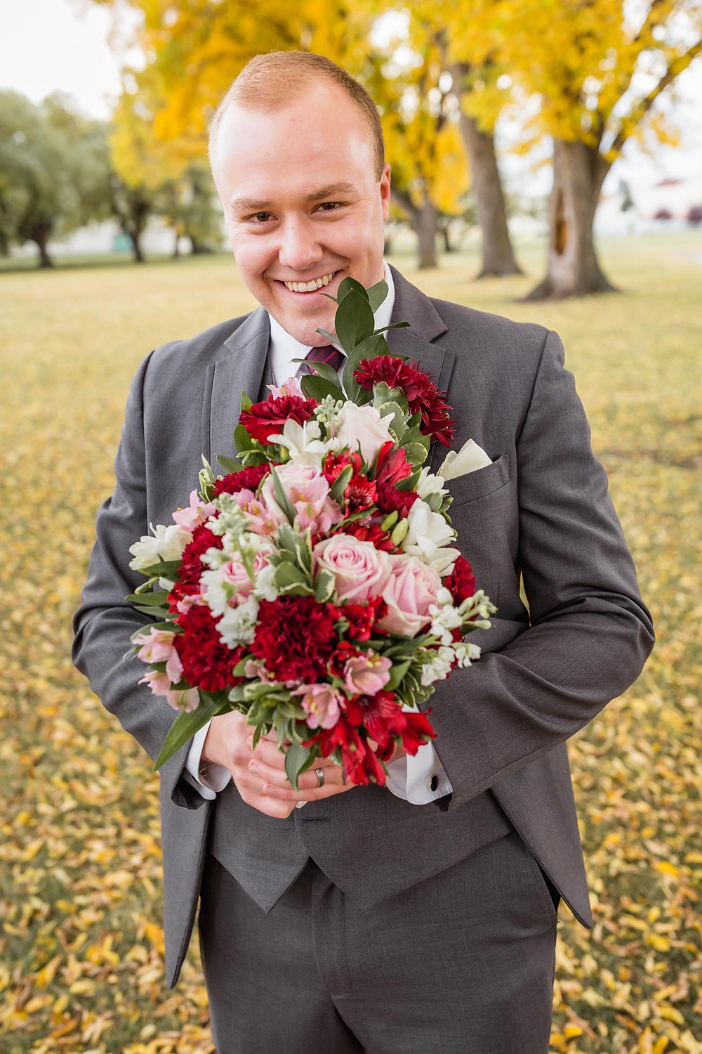 Groom With His Flowers