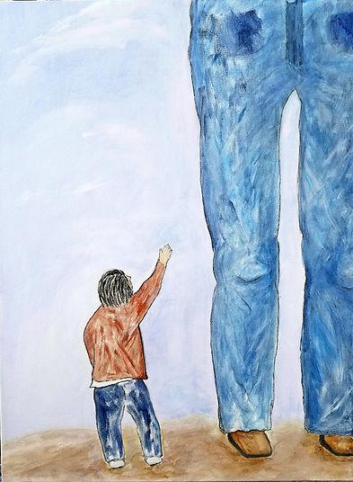 Standin' To My Daddy's Knee, Classic Rock Painting, Painting by Randy Zucker, Father and Son, Born On The Bayou,