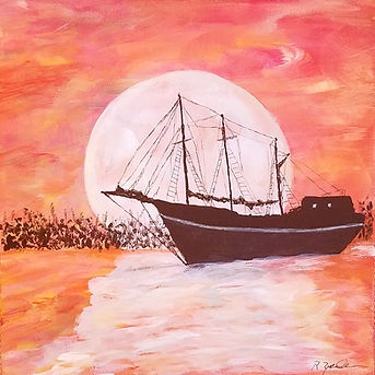 Asea. Sailboat. Orange Sunset. Painting by Randy Zucker.