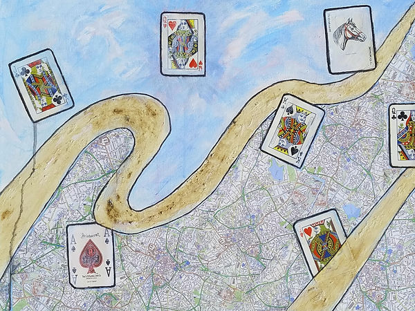 As I Wandered Through My Playing Cards, Classic Rock Inspired Mixed Media Painting by Randy Zucker