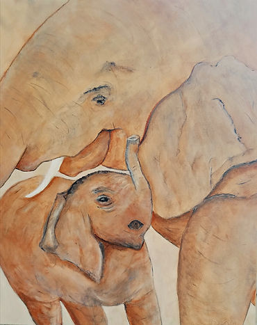 Sticking Close To Mama. Elephant. Baby Elephant. Painting by Randy Zucker.