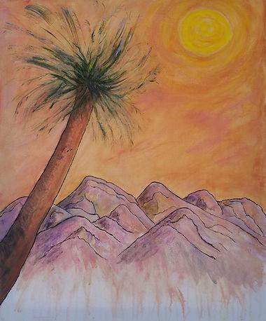 Backyard Mash-Up, Mountains, Sunrise, Sunset, Palm Tree, Orange, Sky, Painting by Randy Zucker