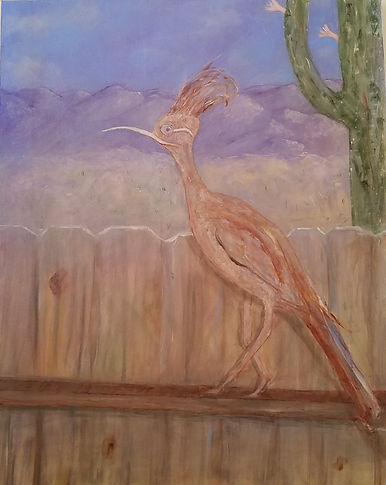 Roadrunner, Mountains, Saguaro, Giant Crested Long Beaked Roadrunner. Roadrunner. Desert. Mountains. Saguaro Cactus. Painting by Randy Zucker.